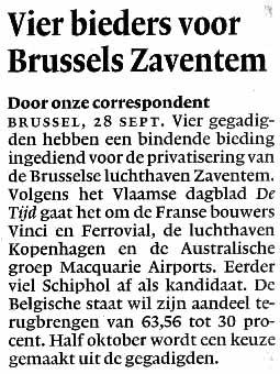 Vier bieders voor Brussels Zaventem