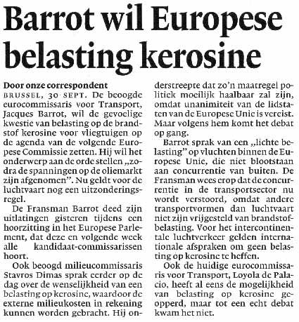 Barrot wil Europese belasting kerosine