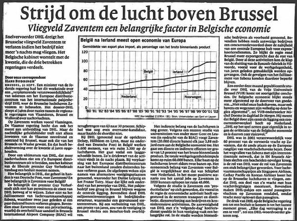 Strijd om de lucht boven Brussel(Vliegveld Zaventem een belangrijke factor in Belgische economie