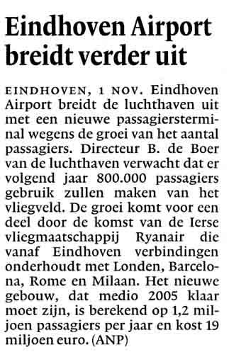 Eindhoven Airport breidt verder uit