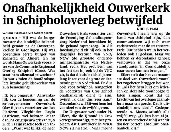 Onafhankelijkheid Ouwerkerk in Schipholoverleg betwijfeld