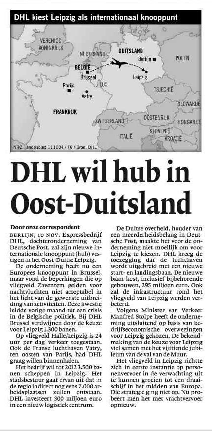 DHL wil hub in Oost-Duitsland