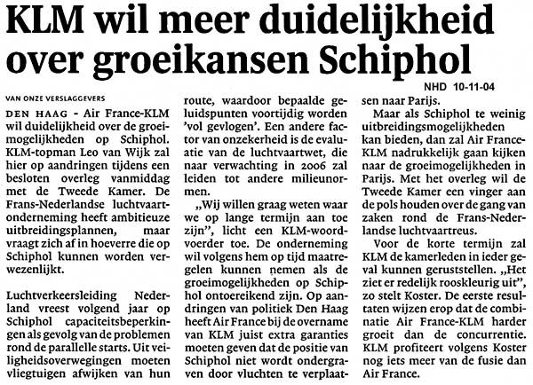 KLM wil meer duidelijkheid over groeikansen Schiphol