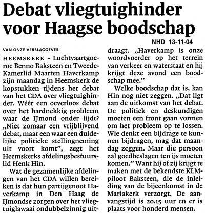Debat  Vliegtuighinder voor Haagse boodschap