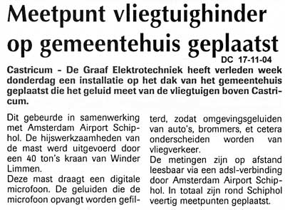 Meetpunt vliegtuighinder op gemeentehuis geplaatst