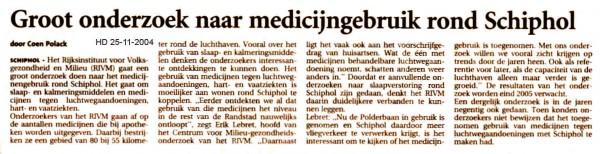 Groot onderzoek naar medicijngebruik rond Schiphol