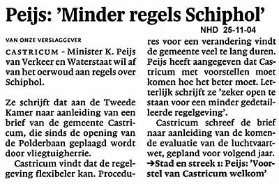 "Peijs: ""Minder regels Schiphol"""