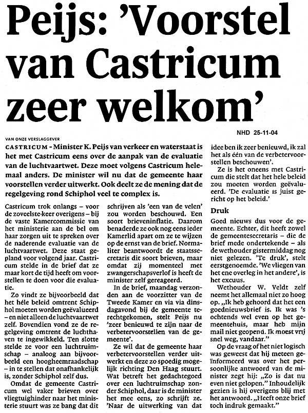 """Peijs: """"Voorstel van Castricum zeer welkom"""""""