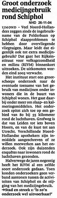 Groot onderzoek medicijngebruik rond Schiphol