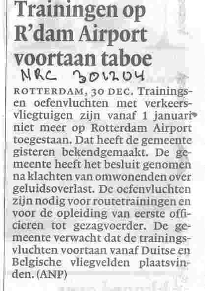 Trainingen op R'dam Airport voortaan taboe