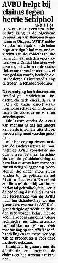 AVBU helpt bij claims tegen herrie Schiphol