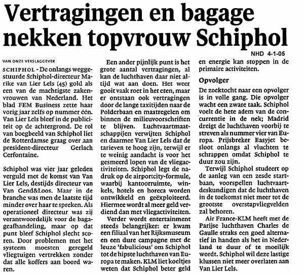 Vertragingen en bagage nekken topvrouw Schiphol