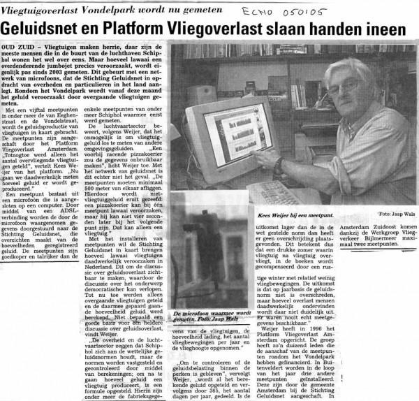 Geluidsnet en Platform Vliegoverlast Amsterdam slaan handen ineen