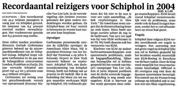 Recordaantal reizigers voor Schiphol in 2004