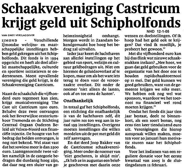 Schaakvereniging Castricum krijgt geld uit Schipholfonds