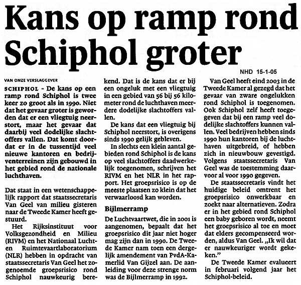 Kans op ramp rond Schiphol groter