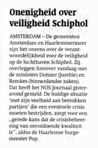 Onenigheid over veiligheid Schiphol