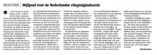 Mijlpaal voor de Nederlandse vliegtuigindustrie