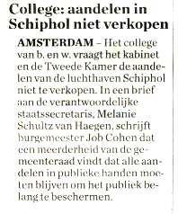 College: aandelen in Schiphol niet verkopen