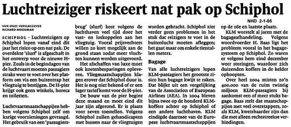 Luchtreiziger riskeert nat pak op Schiphol