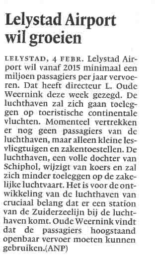 Lelystad Airport wil groeien