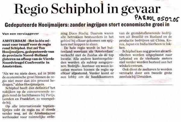 Regio Schiphol in gevaar