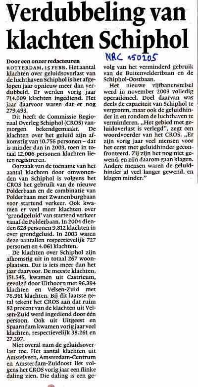 Verdubbeling van klachten Schiphol