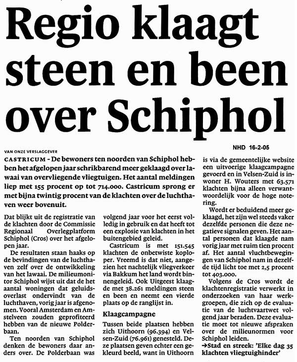 Regio klaagt steen en been over Schiphol