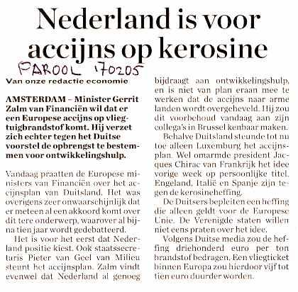 Nederland is voor accijns op kerosine