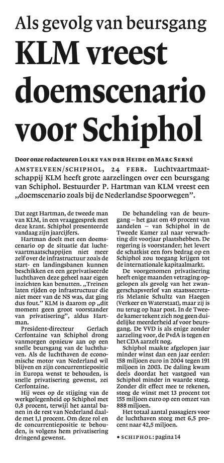 KLM vreest doemscenario voor Schiphol(Als gevolg van beursgang)