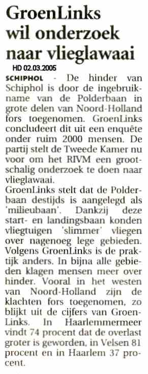 GroenLinks wil onderzoek naar vlieglawaai