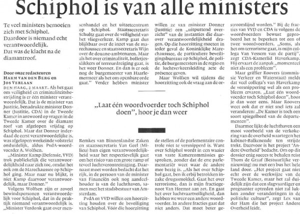 Schiphol is van alle ministers