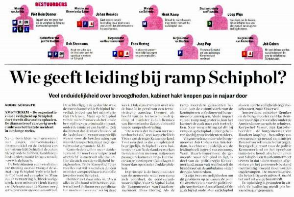 Wie geeft leiding ramp Schiphol?