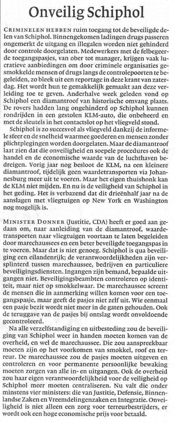 Onveilig Schiphol