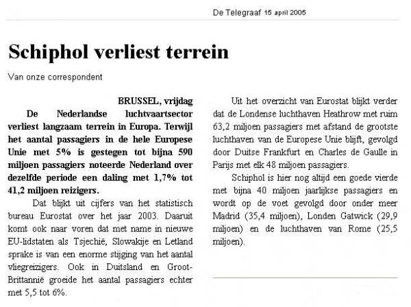 Schiphol verliest terrein
