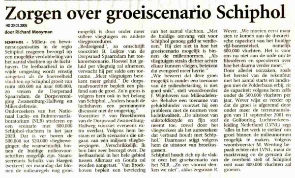 Zorgen over groeiscenario Schiphol