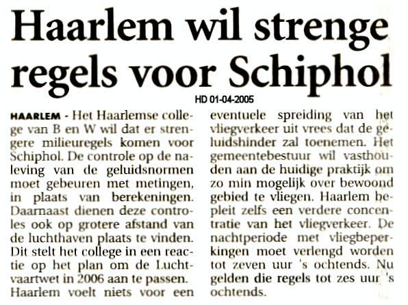 Haarlem wil strenge regels voor Schiphol