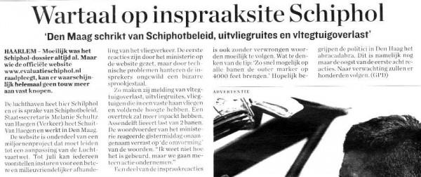Wartaal op inspraaksite Schiphol