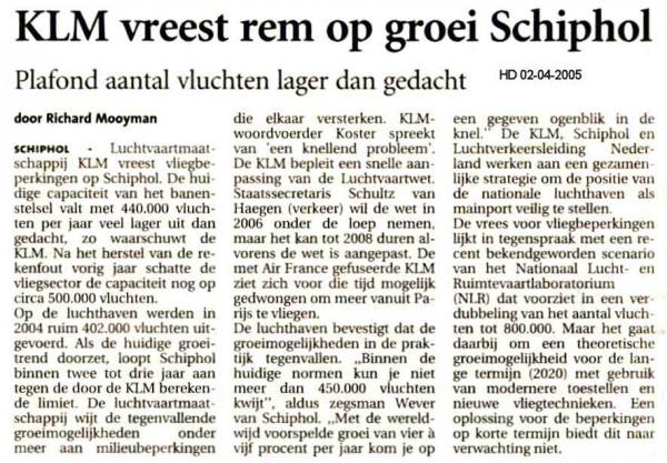KLM vreest rem op groei Schiphol