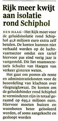 Rijk meer kwijt aan isolatie rond Schiphol