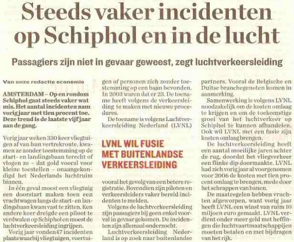 Steeds vaker incidenten op Schiphol en in de lucht