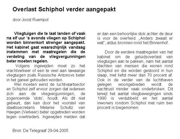 Overlast Schiphol verder aangepakt