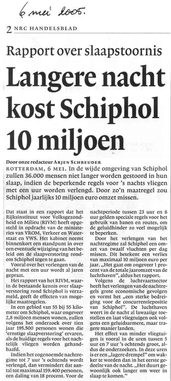 Langere nacht kost Schiphol 10 miljoen