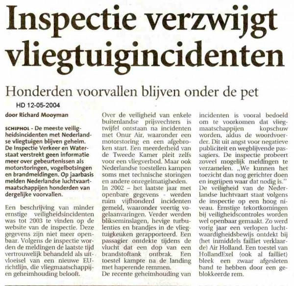 Inspectie verzwijgt vliegtuigincidenten