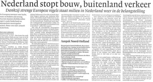 Nederland stopt bouw, buitenland verkeer