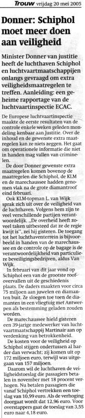 Donner: Schiphol moet meer doen aan veiligheid