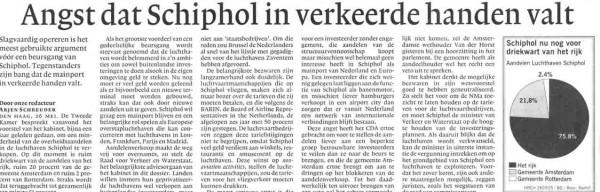 Angst dat Schiphol in verkeerde handen valt