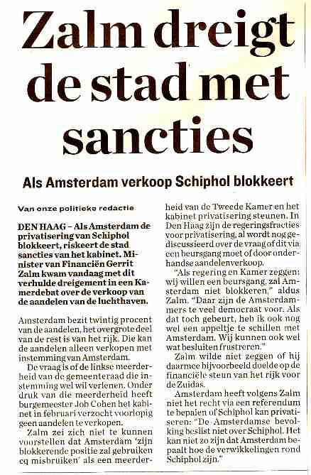 Zalm dreigt de stad met sancties
