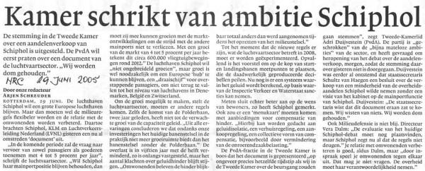 Kamer schrikt van ambitie Schiphol