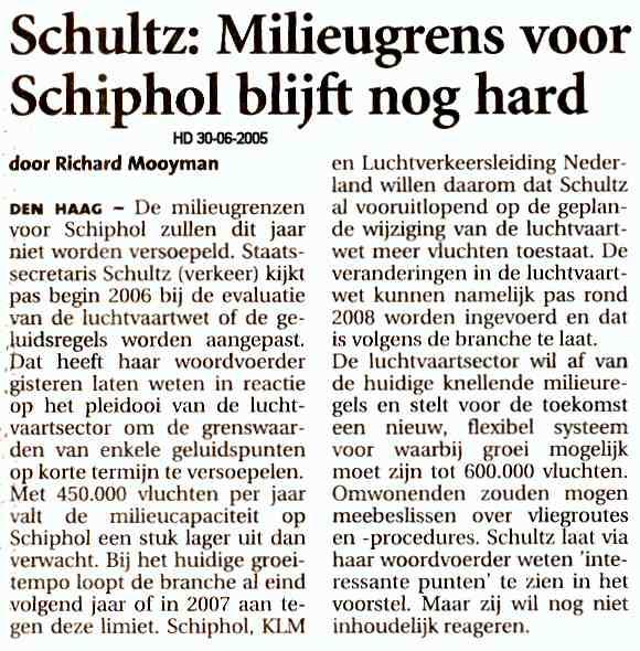 Schultz:Milieugrens voor Schiphol blijft nog hard